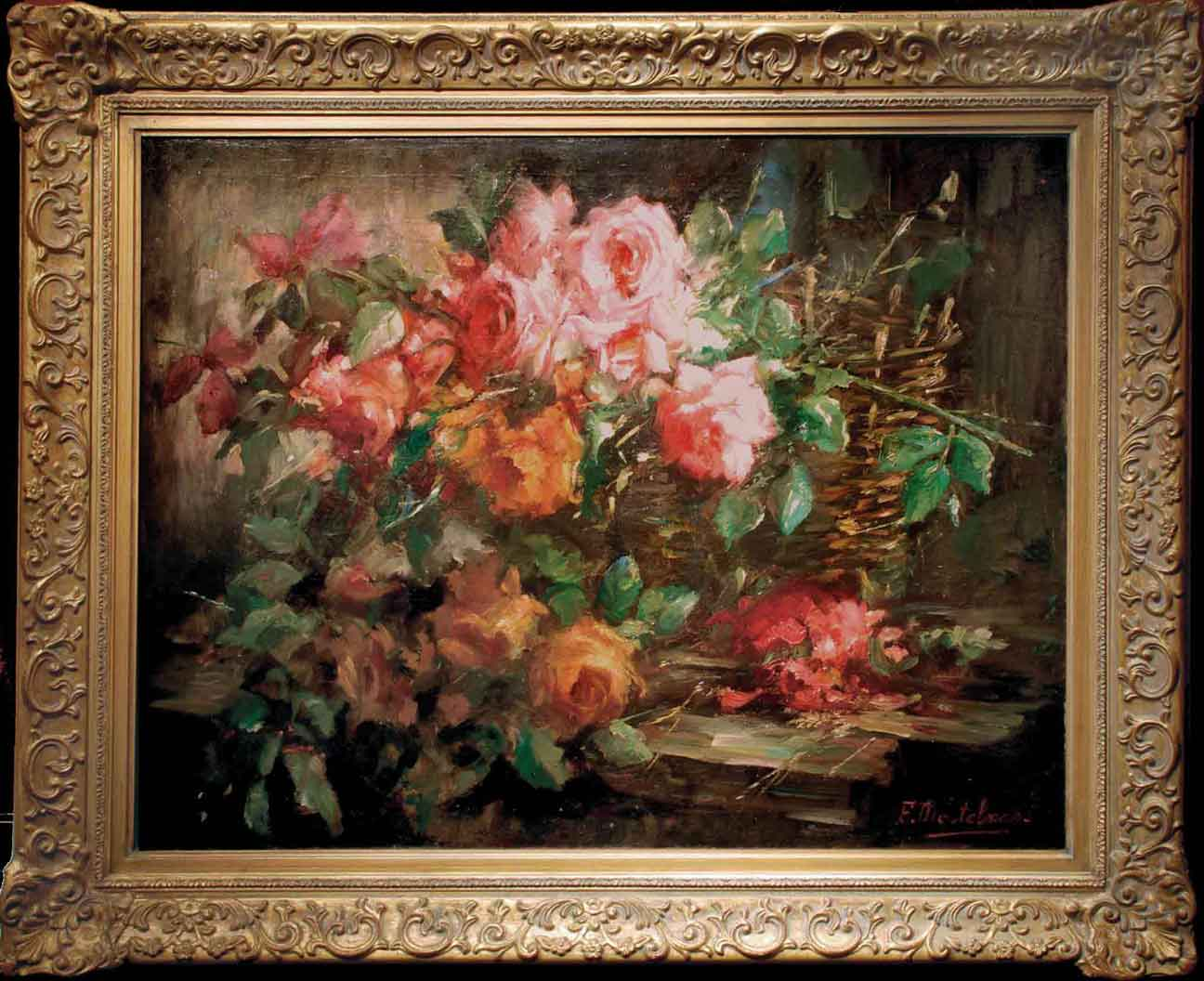 floral oil painting brian curtis antiques. Black Bedroom Furniture Sets. Home Design Ideas